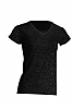 Camiseta Regular Lady Cuello Pico - Charcoal Jaspeado
