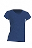 Camiseta Regular Lady Cuello Pico - Denim Jaspeado