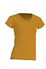 Camiseta Regular Lady Cuello Pico - Mostaza Jaspeado