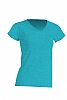 Camiseta Regular Lady Cuello Pico - Turquesa Jaspeado